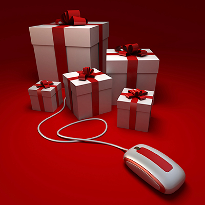 Wrapped presents and computer mouse