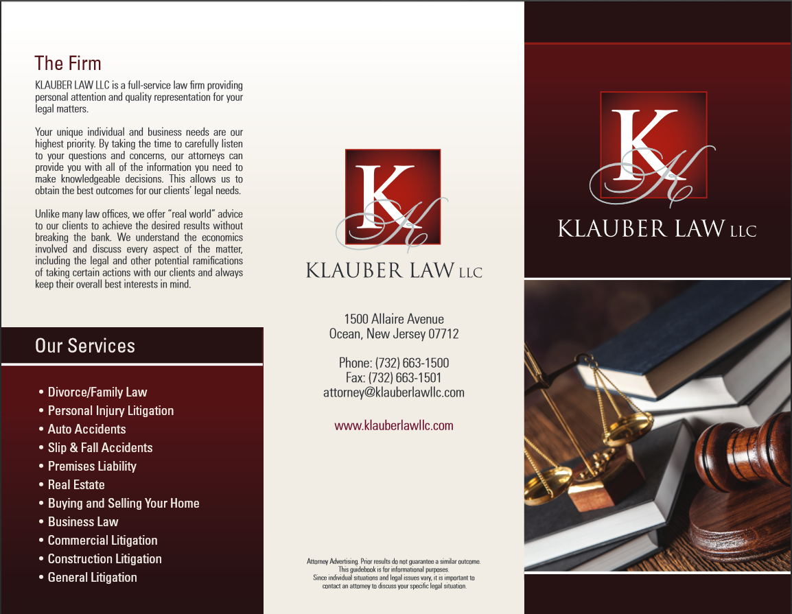 Screenshot of Klauber Law Brochure