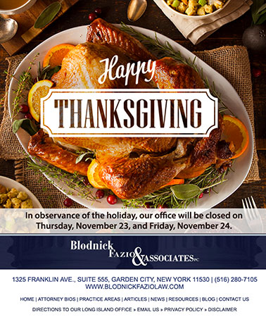Blodnick Fazio & Clark: Thanksgiving Email