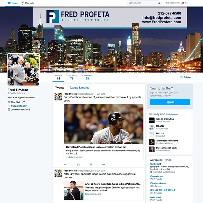 Fred Profeta Twitter Page